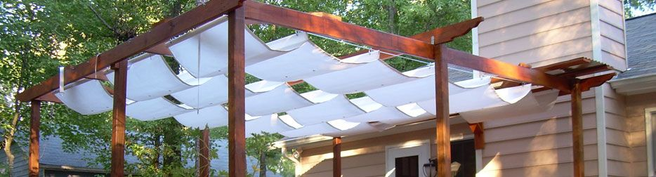 pergola cover made out of Sunbrella fabric. PatioLane.com custom makes  these trellis covers - Pin By Patio Lane On Custom Fabric Projects In 2018 Pinterest