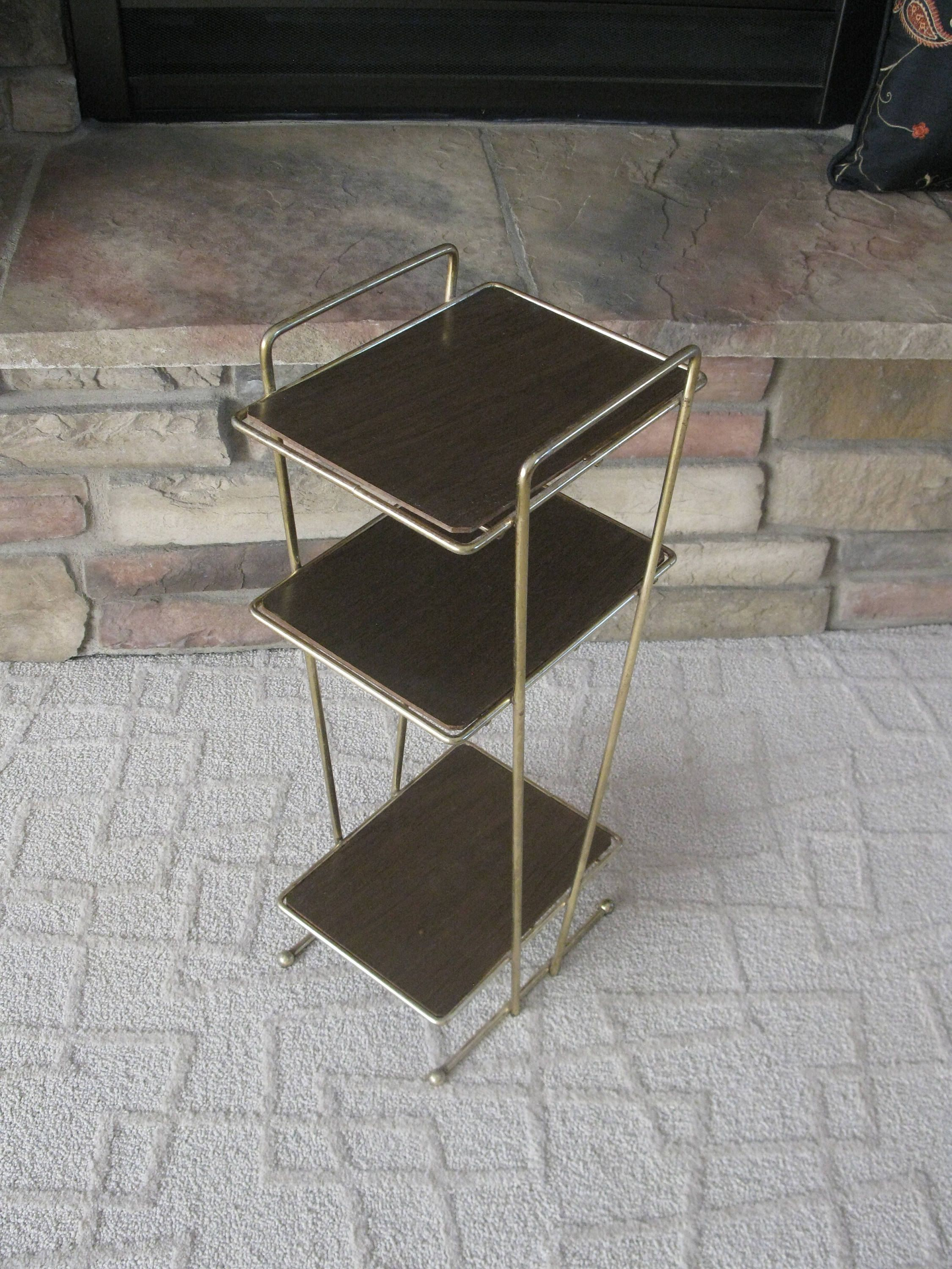 Awesome Mid Century Brass 3 Tier Stand With Wood Laminate
