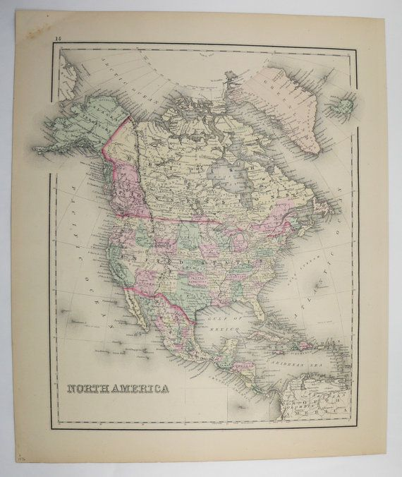 1876 north america map united states canada map mexico central america map 1876 ow gray map old world map man cave art gift for him