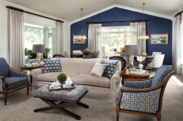 30 Great Design Ideas of Living Rooms With Accented Walls paint