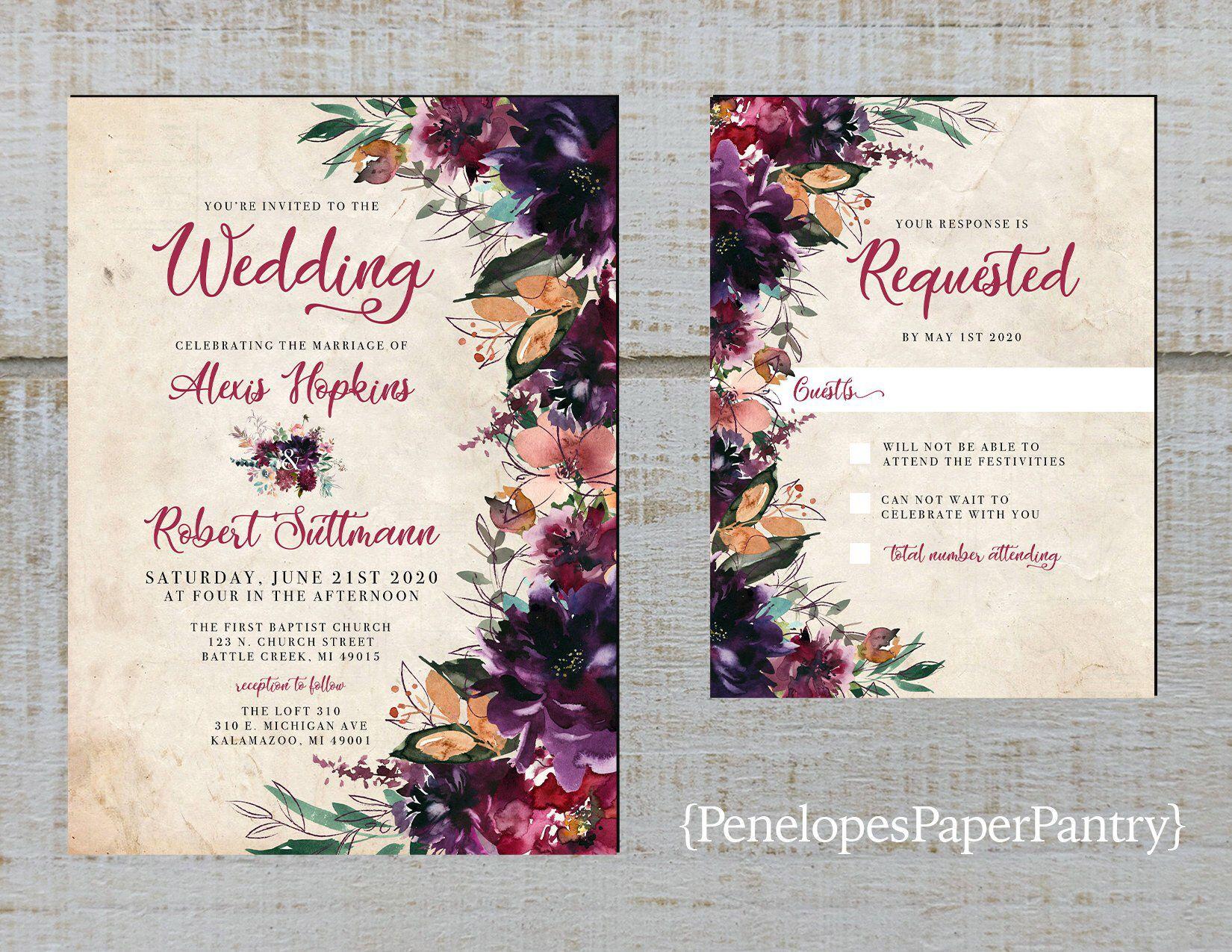 Rustic Purple Floral Fall Wedding Invitation Plum Eggplant Burnt