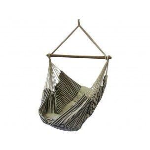 Hangstoel Black Stripe. € 89,99 Zwart gestreepte Braziliaanse hangstoel. Ambachtelijk gemaakt van de beste garens. Inclusief houten ophangstok. Topkwaliteit voor jaren!