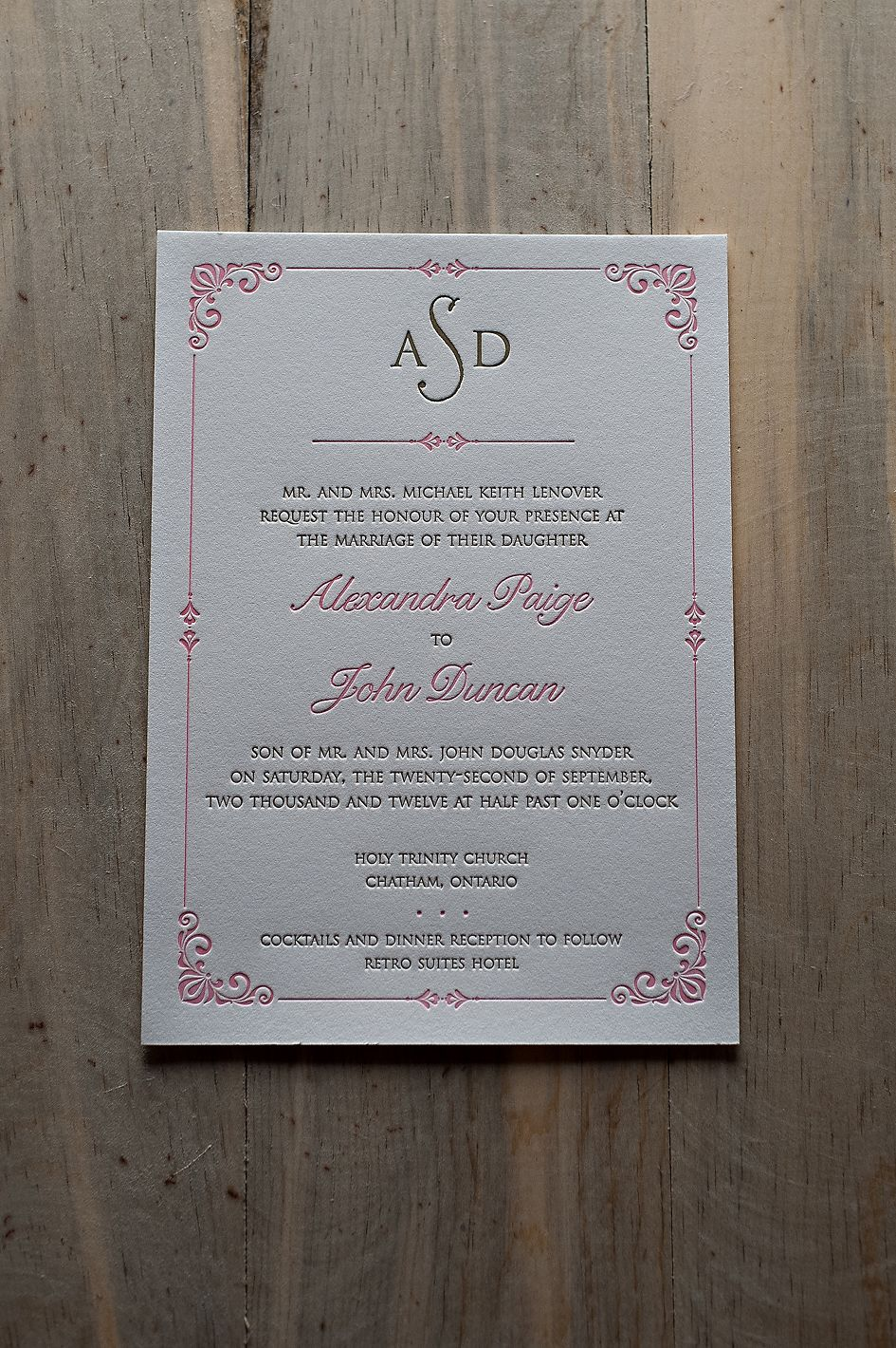 wedding invitation wording with no reception%0A Royal Wedding Invitation  formal invitation wording  pink and gold wedding   letterpress wedding invitations