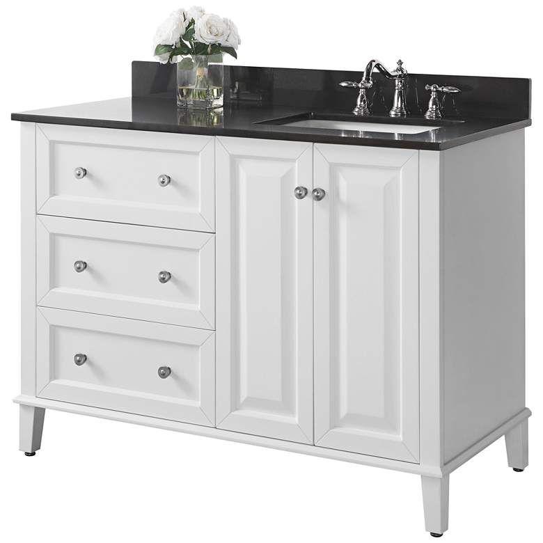 Hannah 48 White Granite Top Off Center Right Sink Vanity 1m912