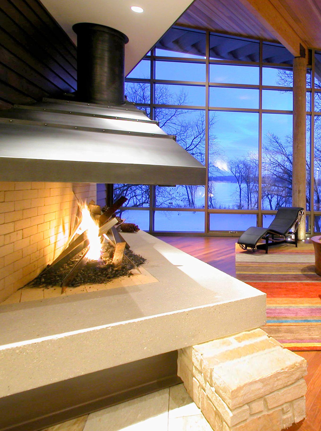 Metal Fireplace With Brick And Concrete Design Idea Custom