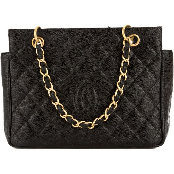 Pre Owned Chanel Black Quilted Caviar Leather Chain Tote 2199