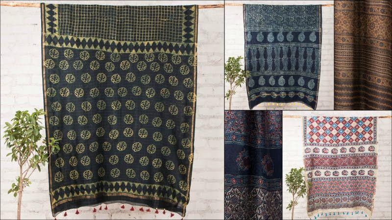 ❃ Ajrakh 3 Kaam Block Print Chanderi Silk Sarees with Tassels ❃