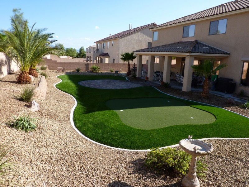 Las Vegas Backyard Design small backyard makeover 4 Artificial Grass Pavers Desert Greenscapes Serving Las Vegas Nevada