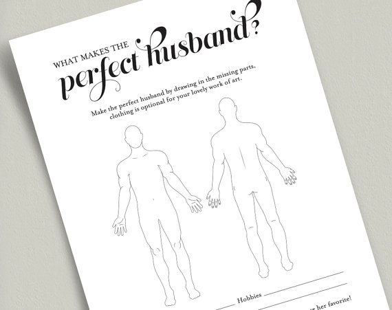 The Perfect Husband Bridal Shower Game, Bridal Shower Game, Funny Bridal Shower Game, Bridal Shower printable from Bliss Paper Boutique