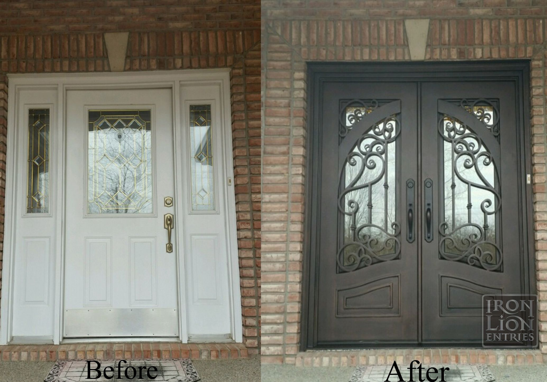 Iron Lion Entries Recent Double Door Remod Customer Went From