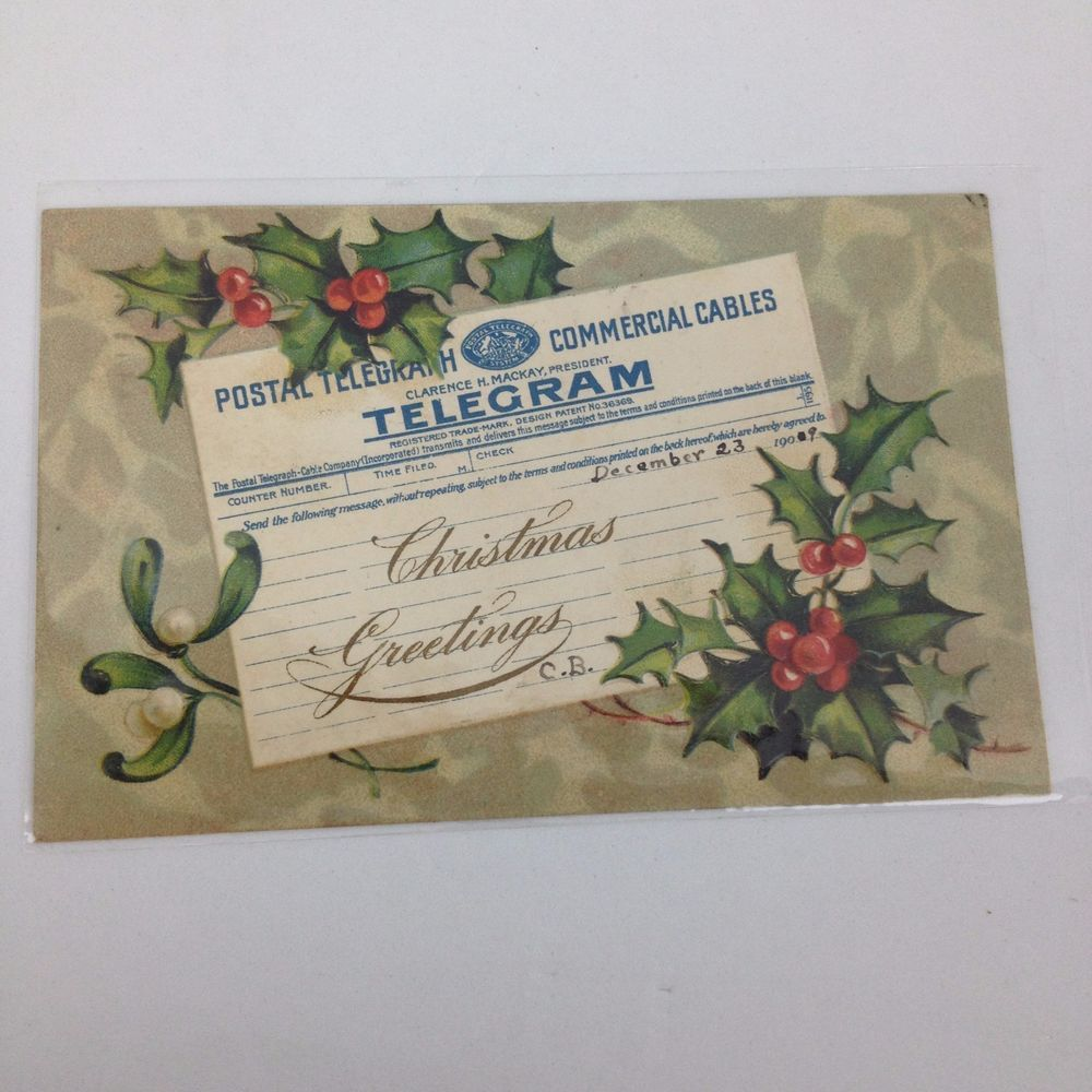 Vtg 1909 Embossed Postcard Telegram Christmas Greetings Holly
