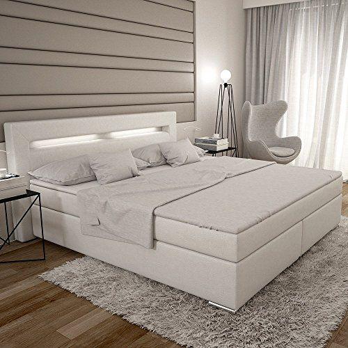 Designer boxspringbett leder  Dalian Boxspringbett 180x200 cm - weißes Polster-Bett in Leder ...