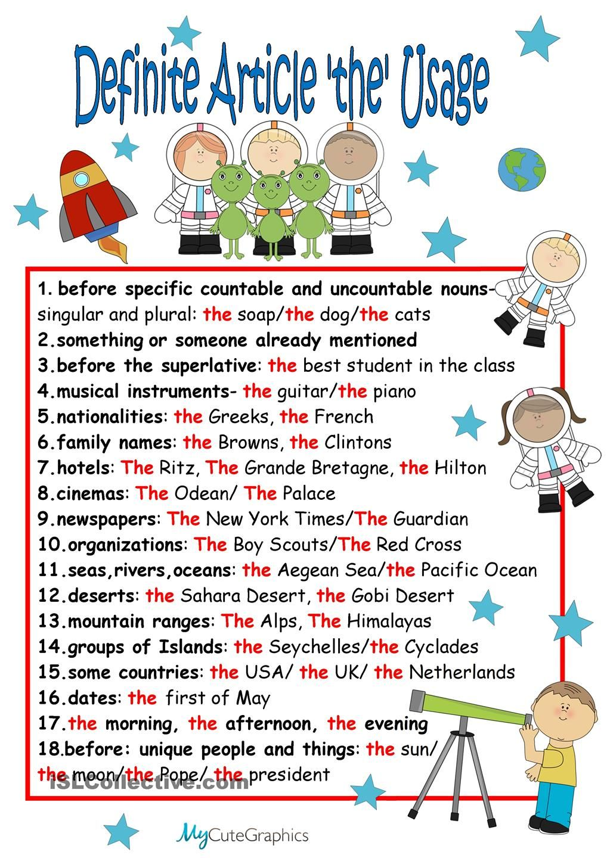 Chart: Definite Article the   Teaching - 2nd grade   Esl ...