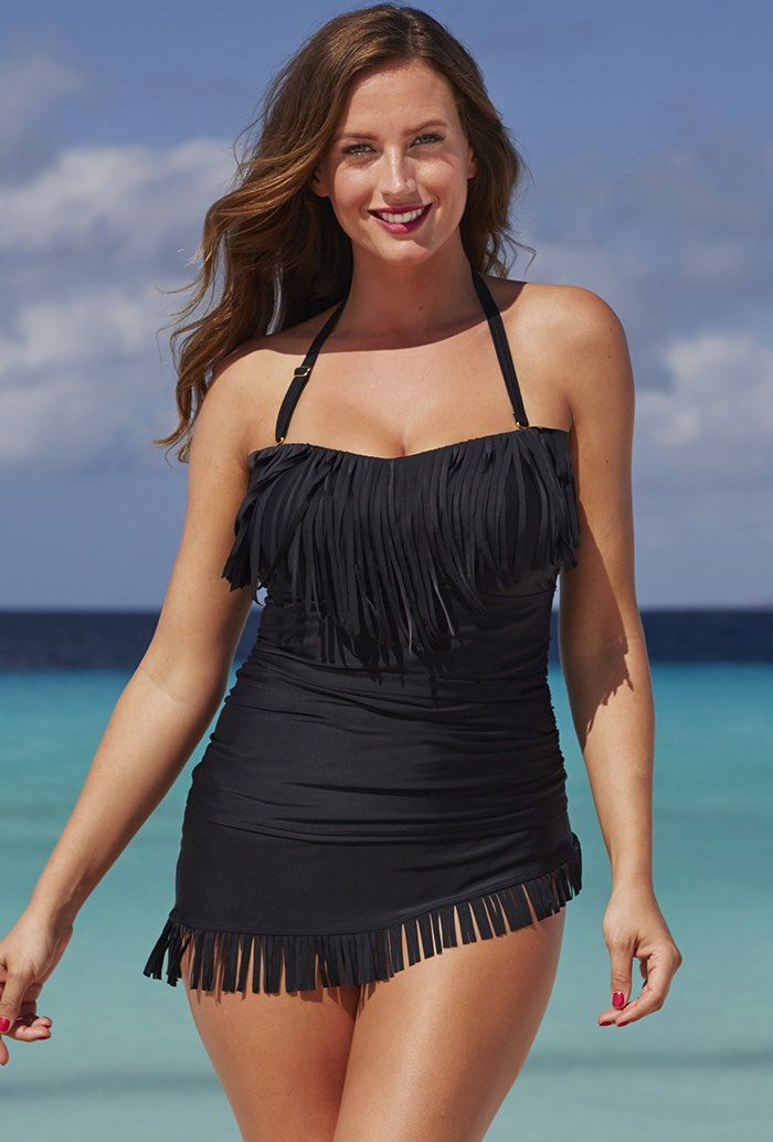 You can grab this women's black colored swimsuit for such a bargain price that you really cannot afford to miss out. There are no straps on this costume, and it is a bandeau wrap front. There is a light fringing that covers the bustline, helping to make smaller bust areas look larger, just what every woman wants when hitting the beach!