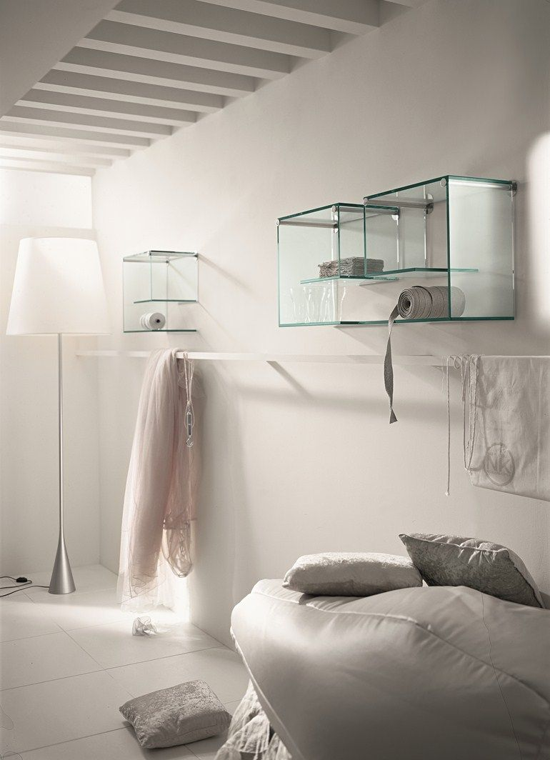 Wall-mounted glass bookcase ALFABETA - T.D. Tonelli Design ...