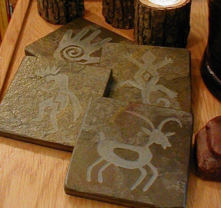 Handcarved Petroglyph Coaster