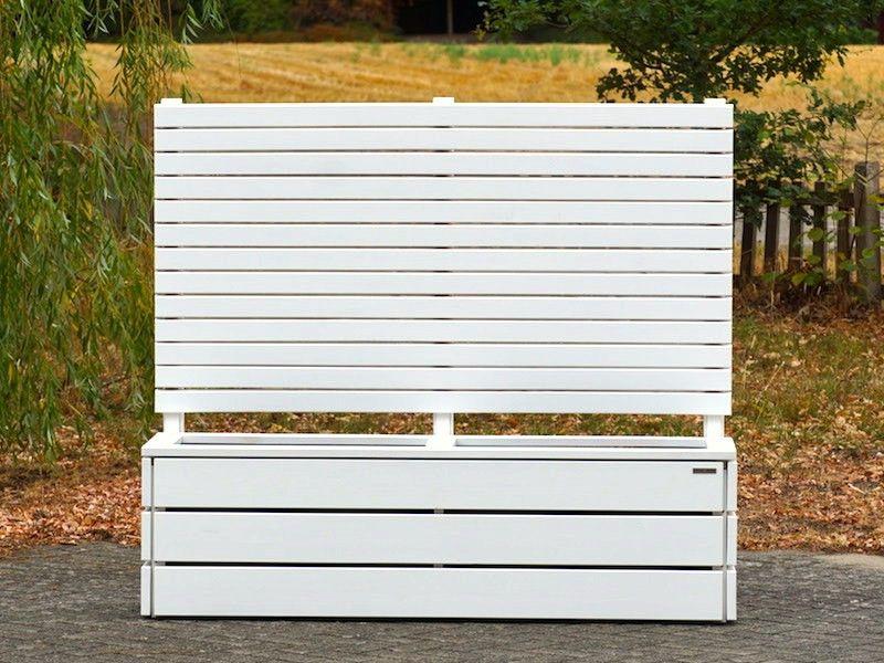 Pflankasten mit Sichtschutz Holz, Oberfläche Weiß