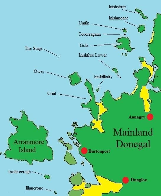 Islands Of Ireland Map.Map Of Donegal Islands Ireland Donegal Islands Pinterest