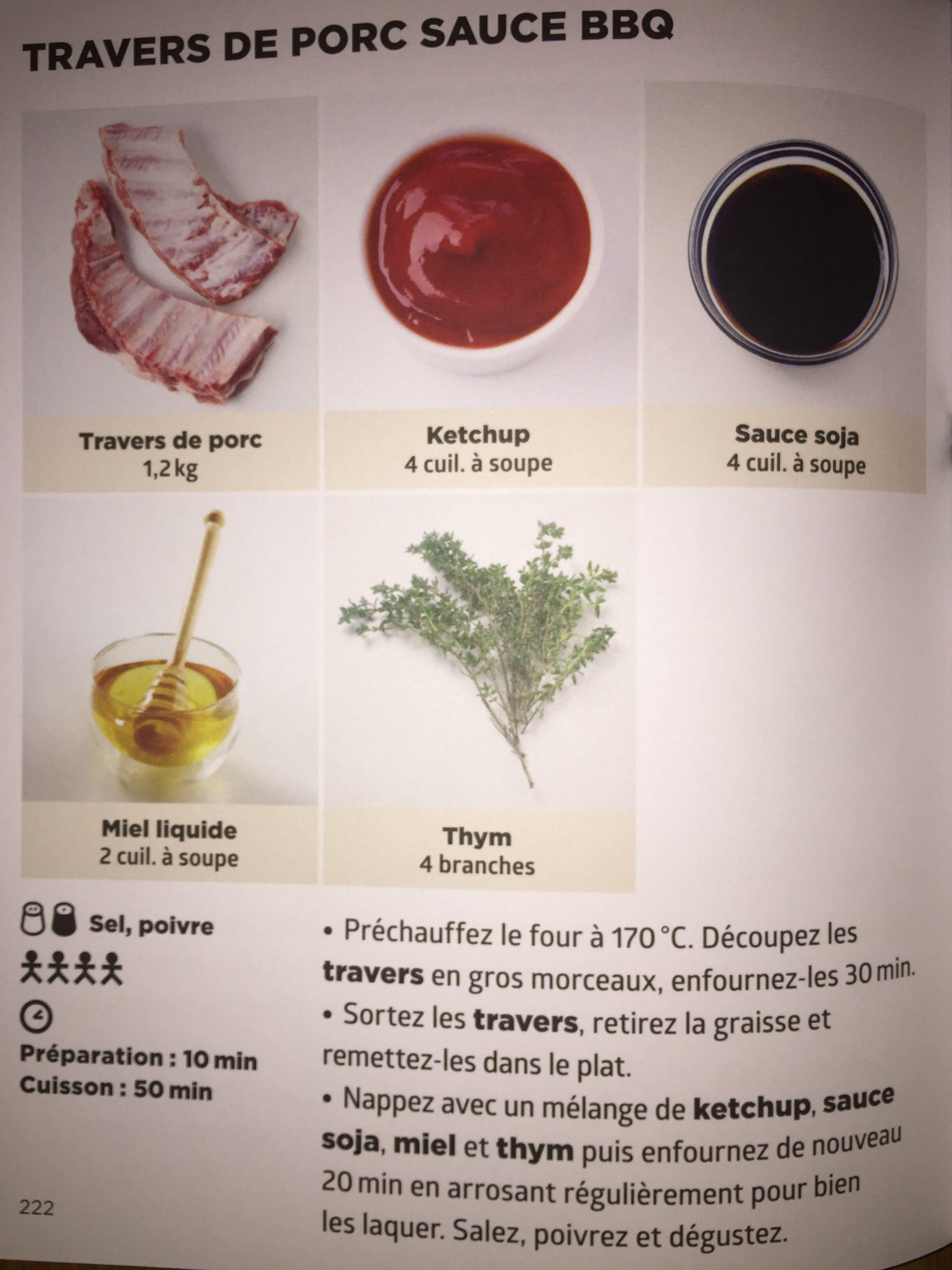 Travers de porc sauce bbq recette de j f mallet simplissime recettes en 2019 recipes - Cuisiner travers de porc ...