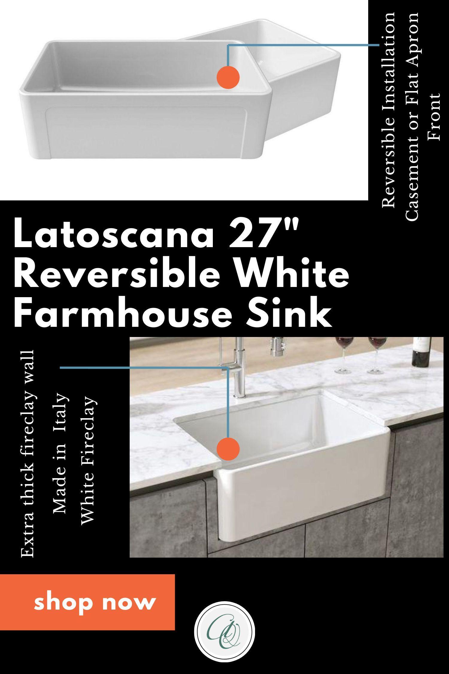Latoscana Ltw2718w 27 White Fireclay Farmhouse Sink With Reversible Design Fireclay Farmhouse Sink Farmhouse Sink White Farm Sink