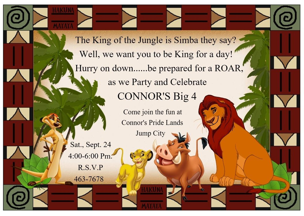 Lion King Party Invitations Idea It Ll Say Braydens First
