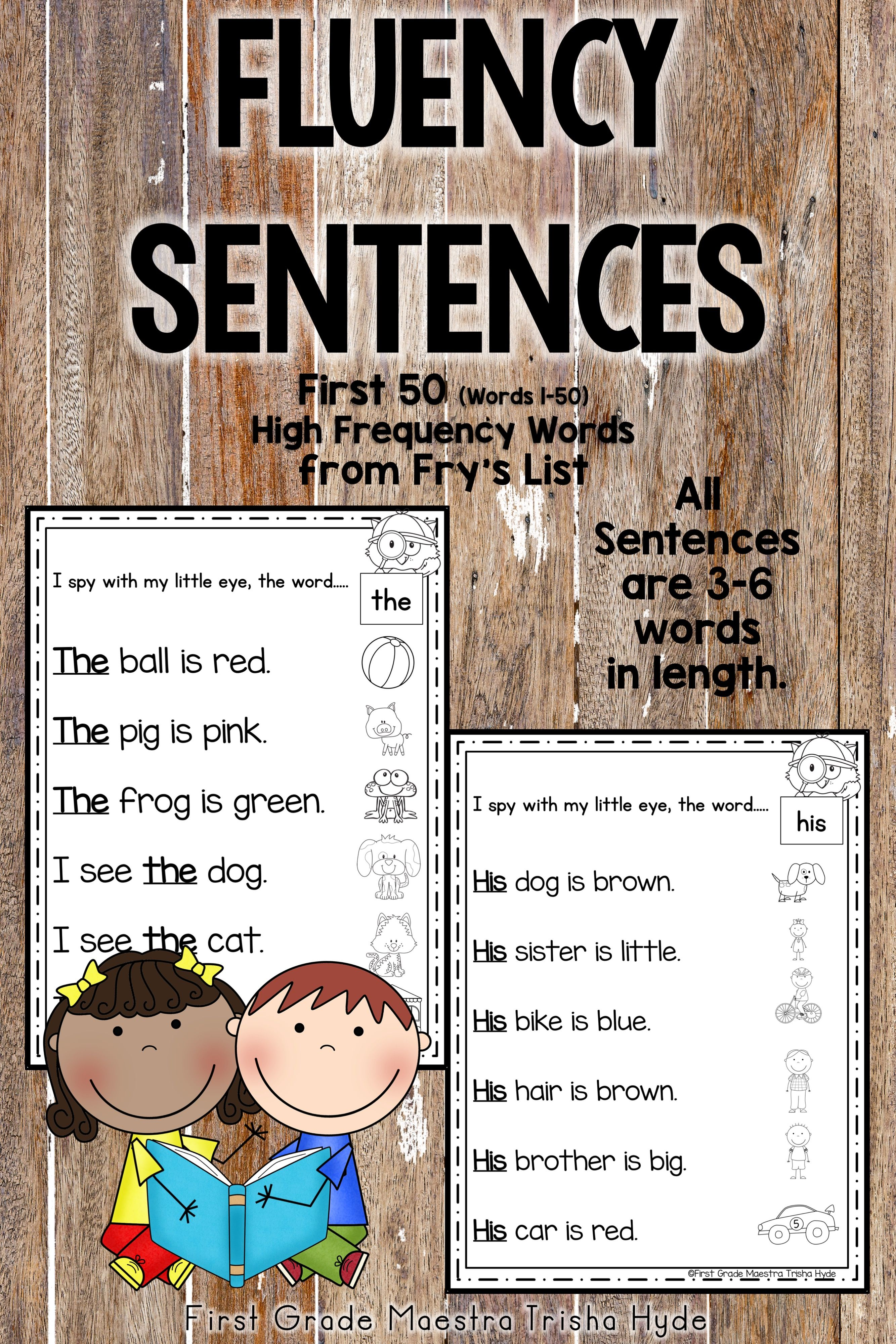 Sight Word Fluency Sentences Fry S First 50 Words