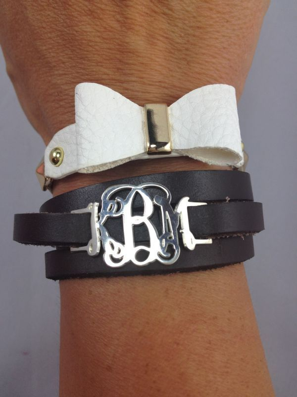 Sterling Silver Monogrammed Leather Wrap Bracelet| Monogram