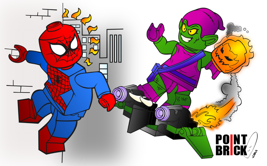 disegni da colorare lego marvel super heroes spiderman e green goblin schema di colore
