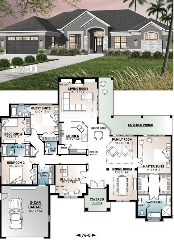 House Plan With 3 5 Baths 4 Bedroom 2 Car Garage Sims House Plans House Plans Family House Plans