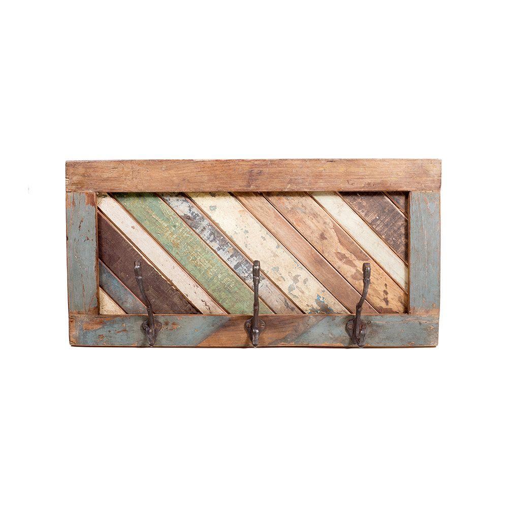 Perchero de maderas recicladas con 3 ganchos de fierro for Ganchos para percheros