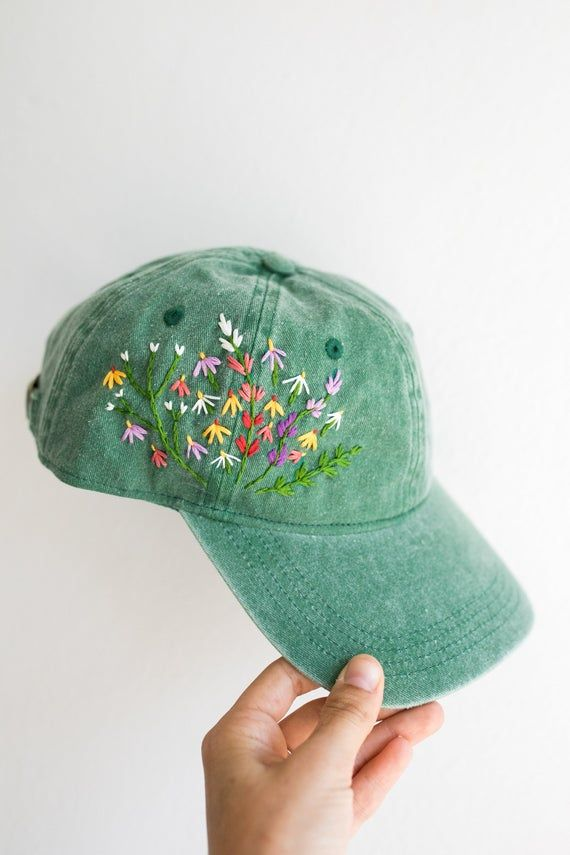 Digital Download Mire Made Embroidery Pattern Make Your Own Embroidered Hat Wildflower Design Simple Embroidery Simple Embroidery Designs Flower Embroidery Designs