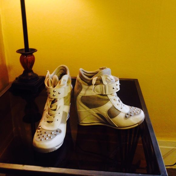 Wedge sneakers Silver studded wedge sneakers. Super cute, only worn a few times. Shoes
