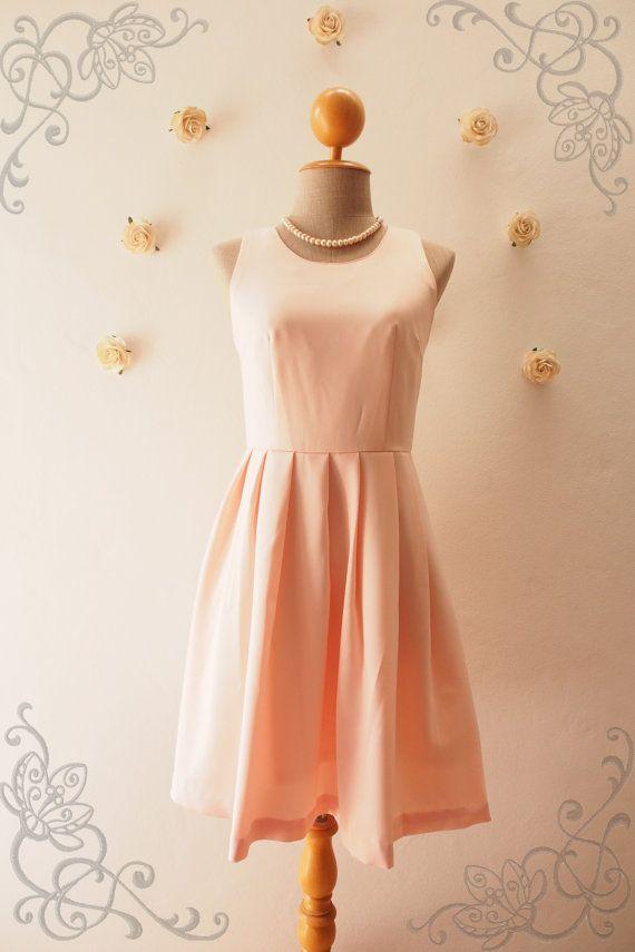 446c08308d0 Love Potion - Pale Peach Dress Vintage Sundress Peach Pink Party ...