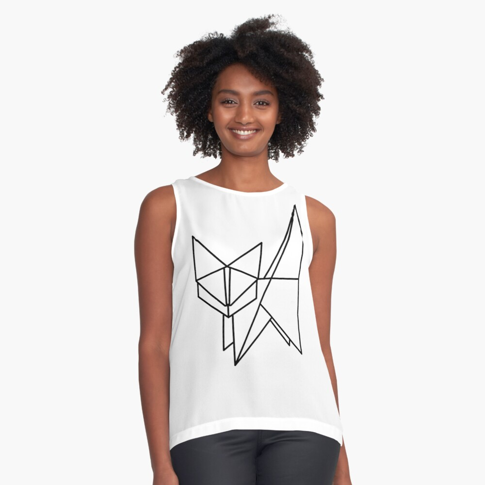 Photo of 'Black Origami Cat' Sleeveless Top by PrintStopStudio