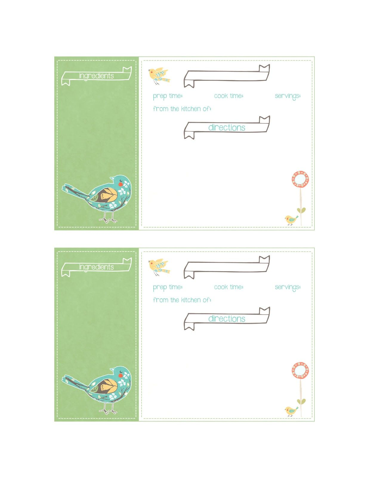 The Cottage Market: Free Spring Time Recipe Card Printable for you!