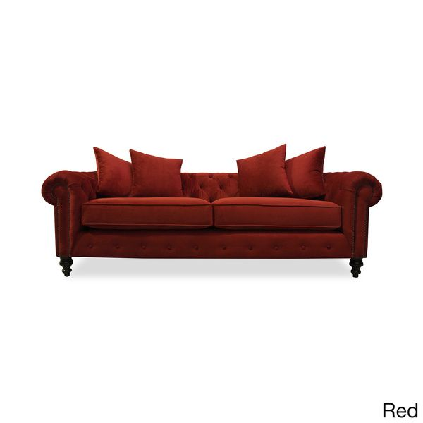 Patrick European Velvet Button-tufted Sofa - Overstock™ Shopping - Great Deals on South Cone Home Sofas & Loveseats