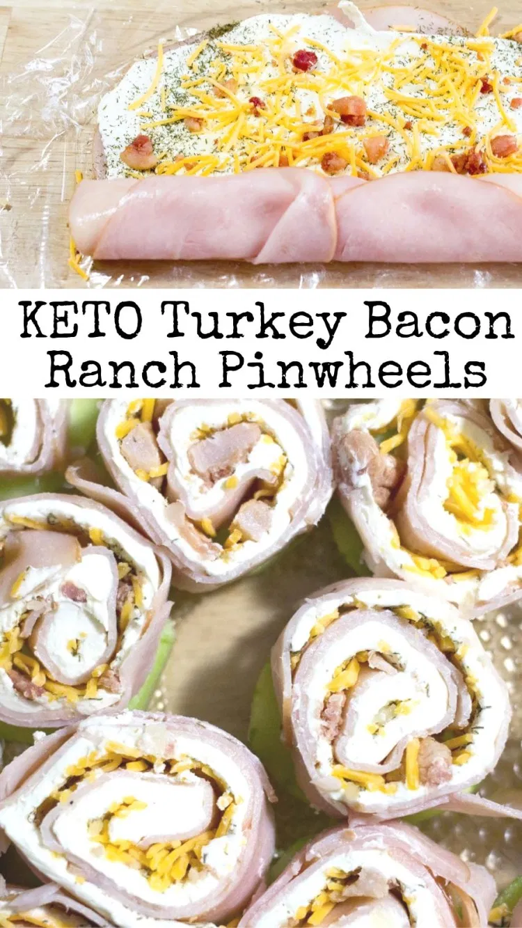 Turkey Bacon Ranch Pinwheels - Keto, Low Carb, Gluten-Free, Grain-Free, THM S - These are a crowd-pleasing, five-minute prep appetizer. My kids gobbled these up when I made them for the Super Bowl last week. They have a lot of flavor with only a little bit of effort. #lowcarb #glutenfree #grainfree #keto #snack #appetizer #thm #trimhealthymama #bacon