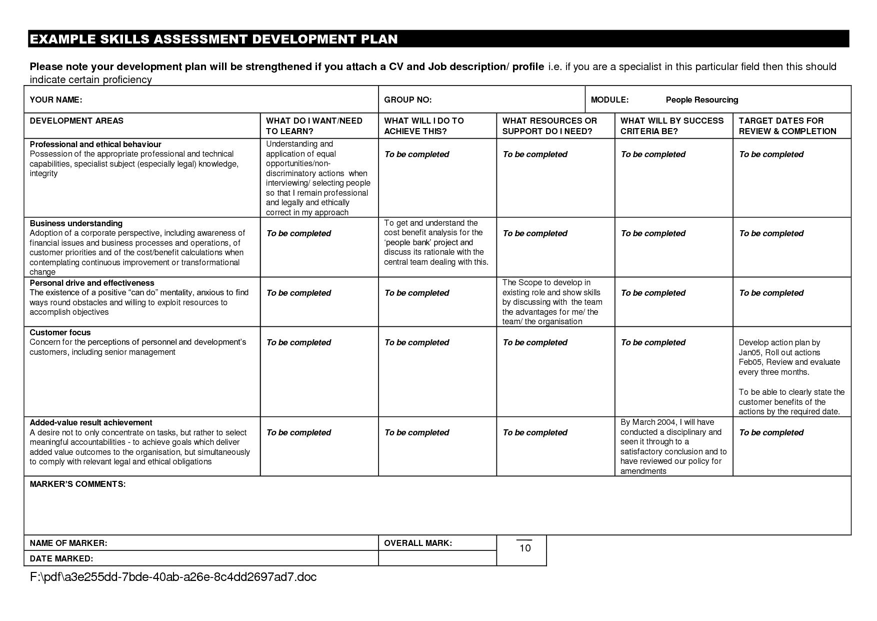 Personal development plan example for students google for Student improvement plan template