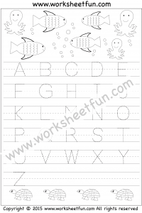 Letter Tracing Worksheet – Capital Letters – Fish & Octopus Theme ...