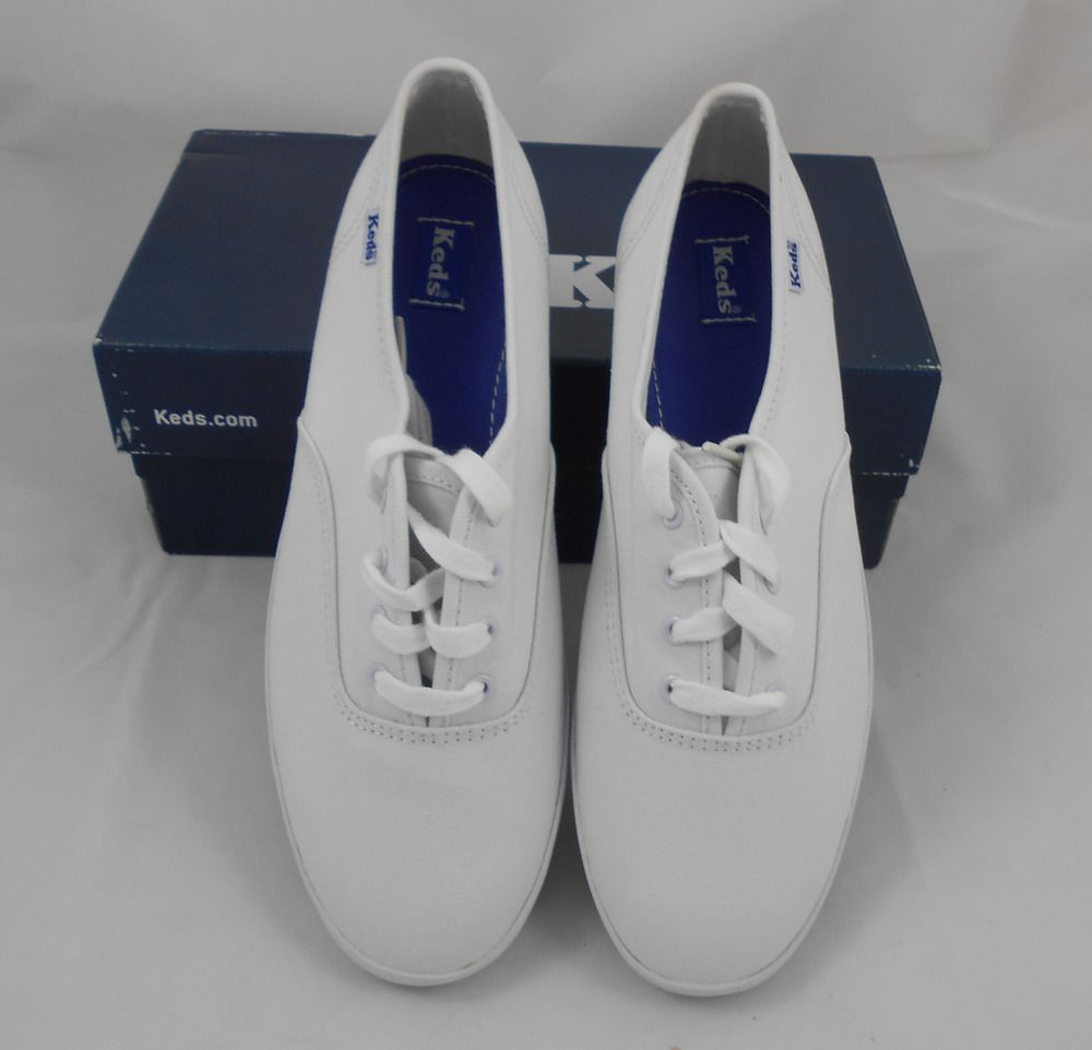 98c0eb47730 Keds Ladies Size 7 1 2 Wide Champion White Canvas Tennis Shoes New with Box   Keds  Champion