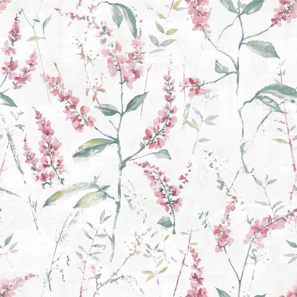 Roommates Floral Sprig Vinyl Peelable Wallpaper Covers 28 18 Sq Ft Rmk11452wp The Home Depot Floral Wallpaper Wallpaper Peel And Stick Wallpaper