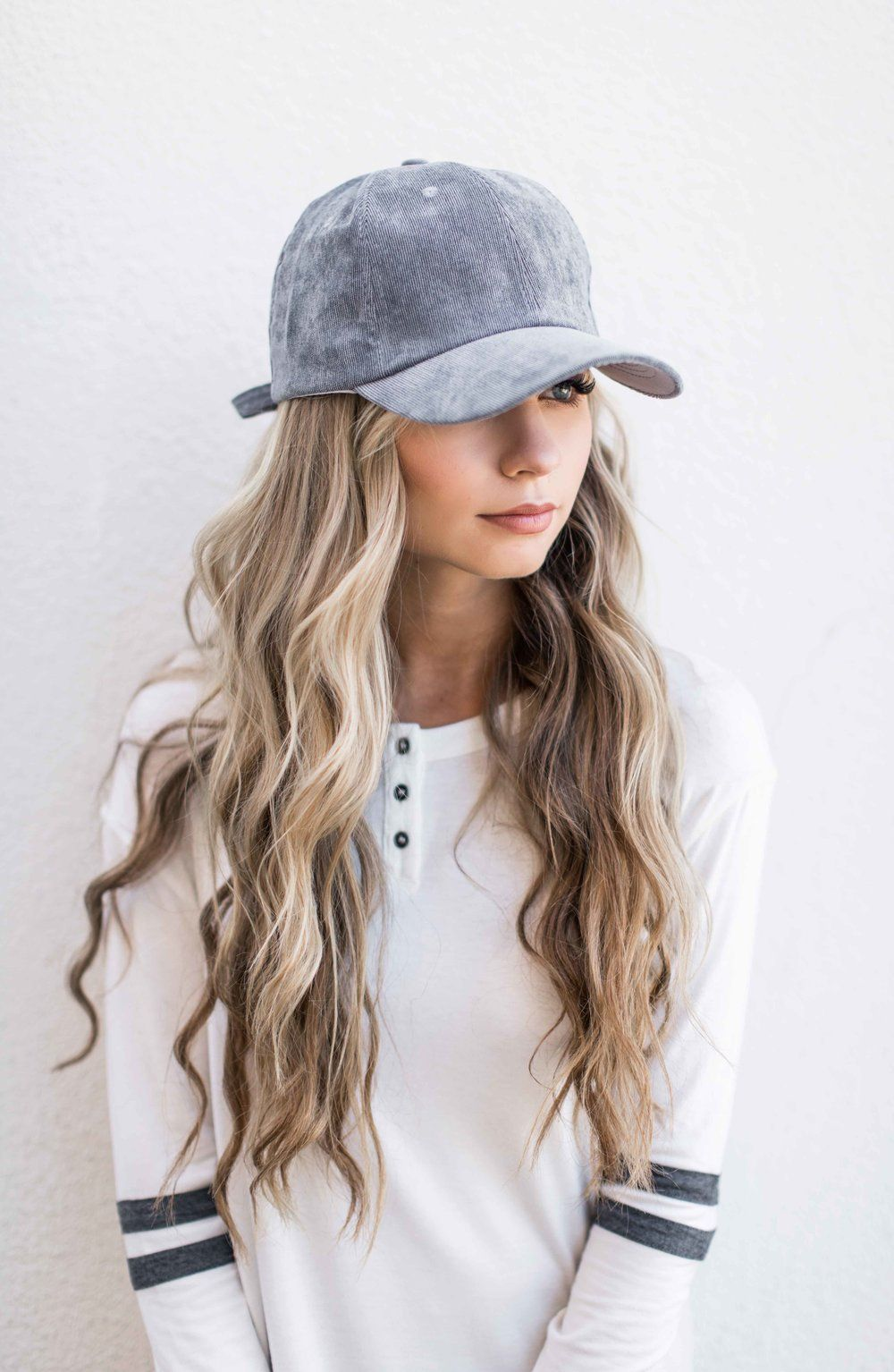 Gray Suede Baseball Cap Baseball Cap Varsity Stripe Shirt Blonde Hair Wavy Hair Fashion