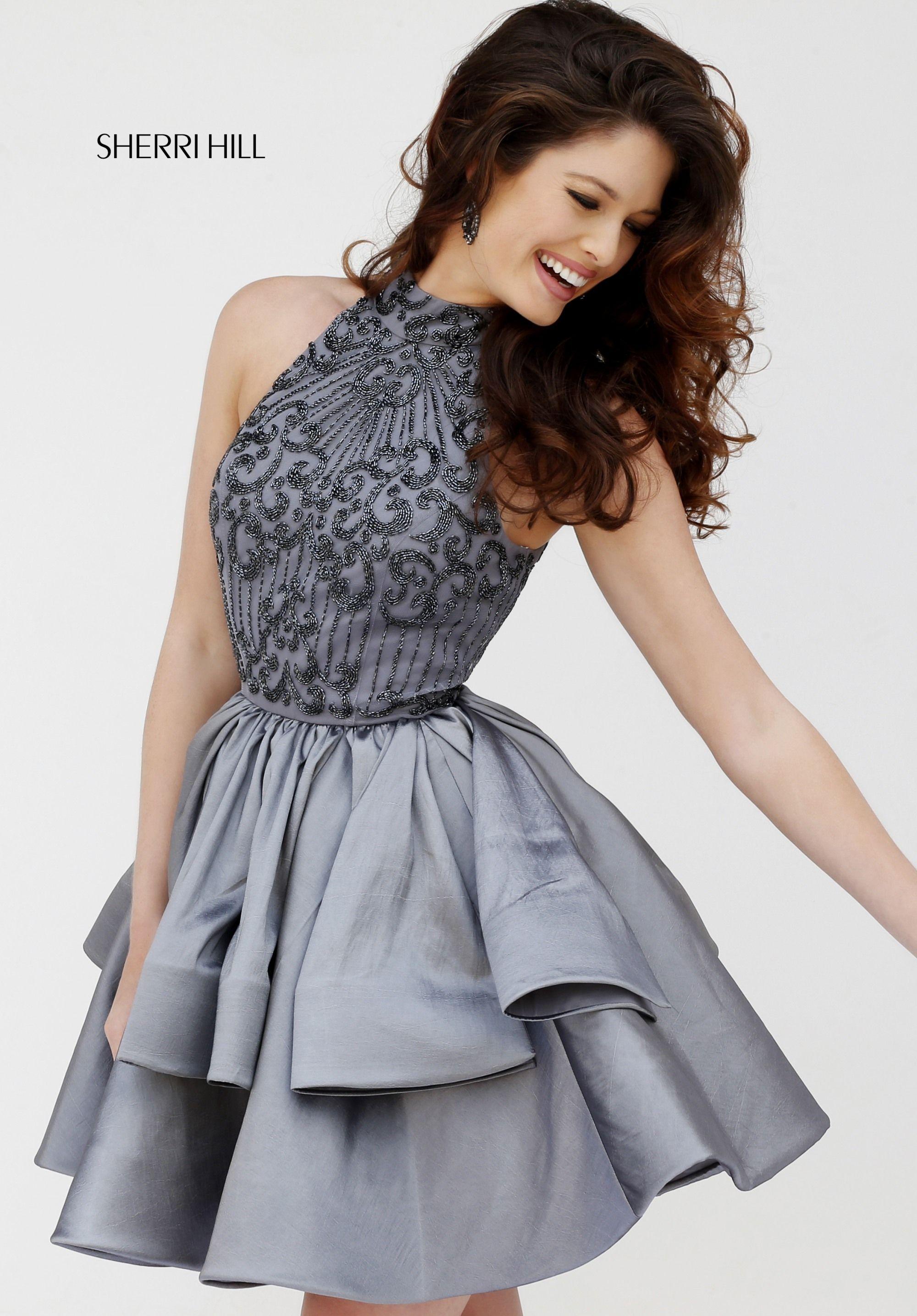 bd1e8f0994 Sherri Hill silver gunmetal grey short dress homecoming prom pageant cocktail  dress beading bodice halter top
