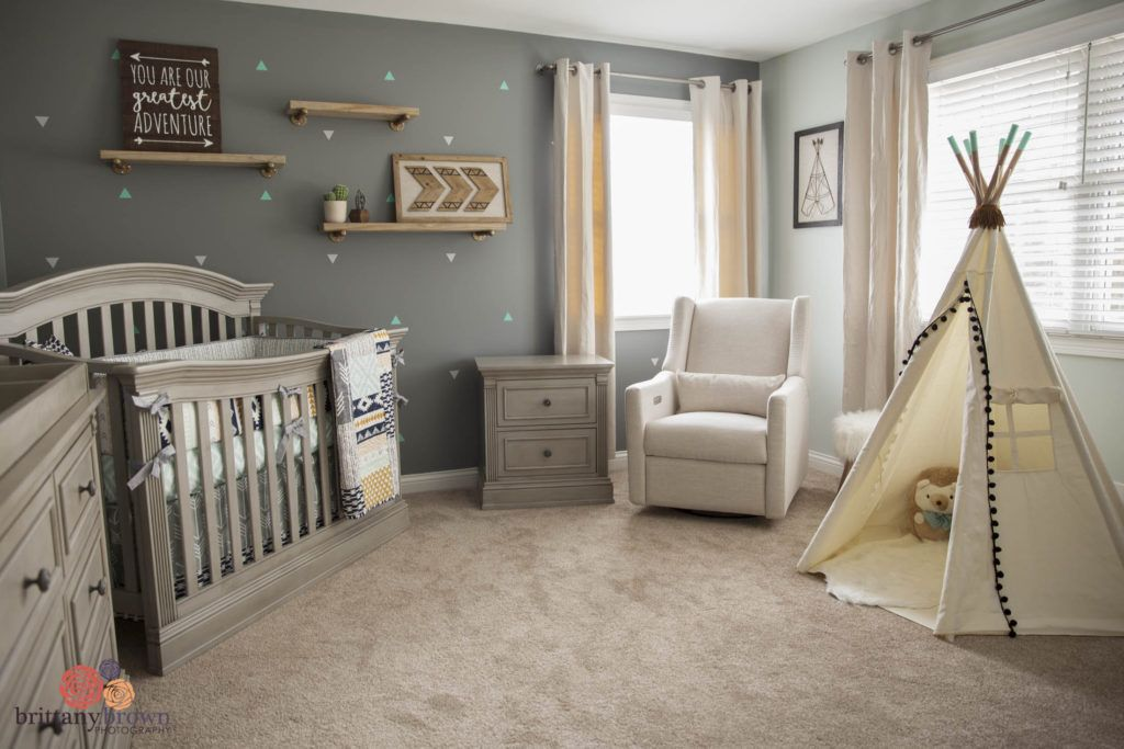 Beautiful Gender Neutral Tribal Aztec Nursery Grey