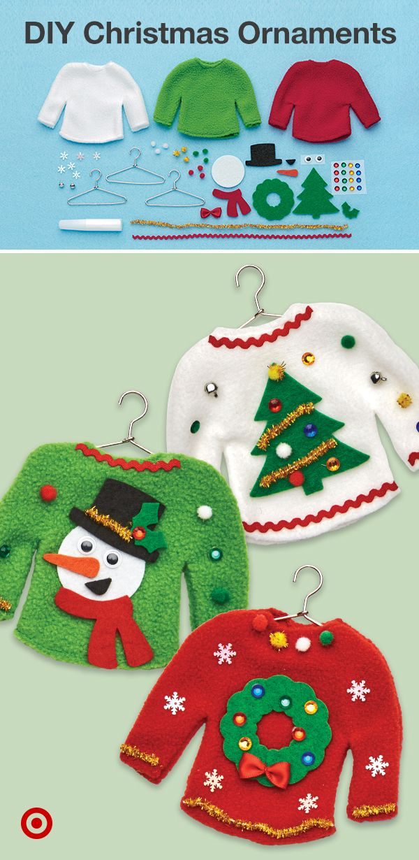 Make your own tree ornaments with easy Christmas crafts for kids like a DIY holiday sweater ornament kit & other fun winter activities.