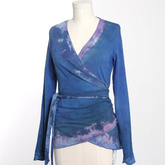 Womens Wrap Top / Long Sleeve Wrap Tunic / Stretch Knit Yoga Wrap / Woman Cardigan Wrap / Stretch Knit Blouse /Blue Wrap Top