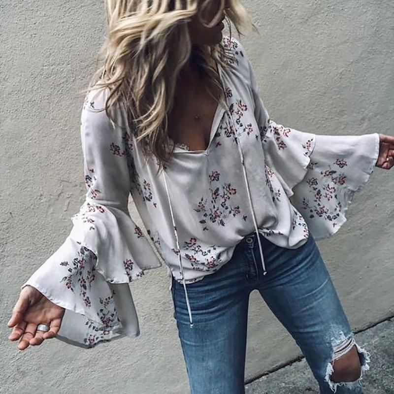 Casual Sexy V Neck Stacked Horn Sleeves Floral Print Shirt ...