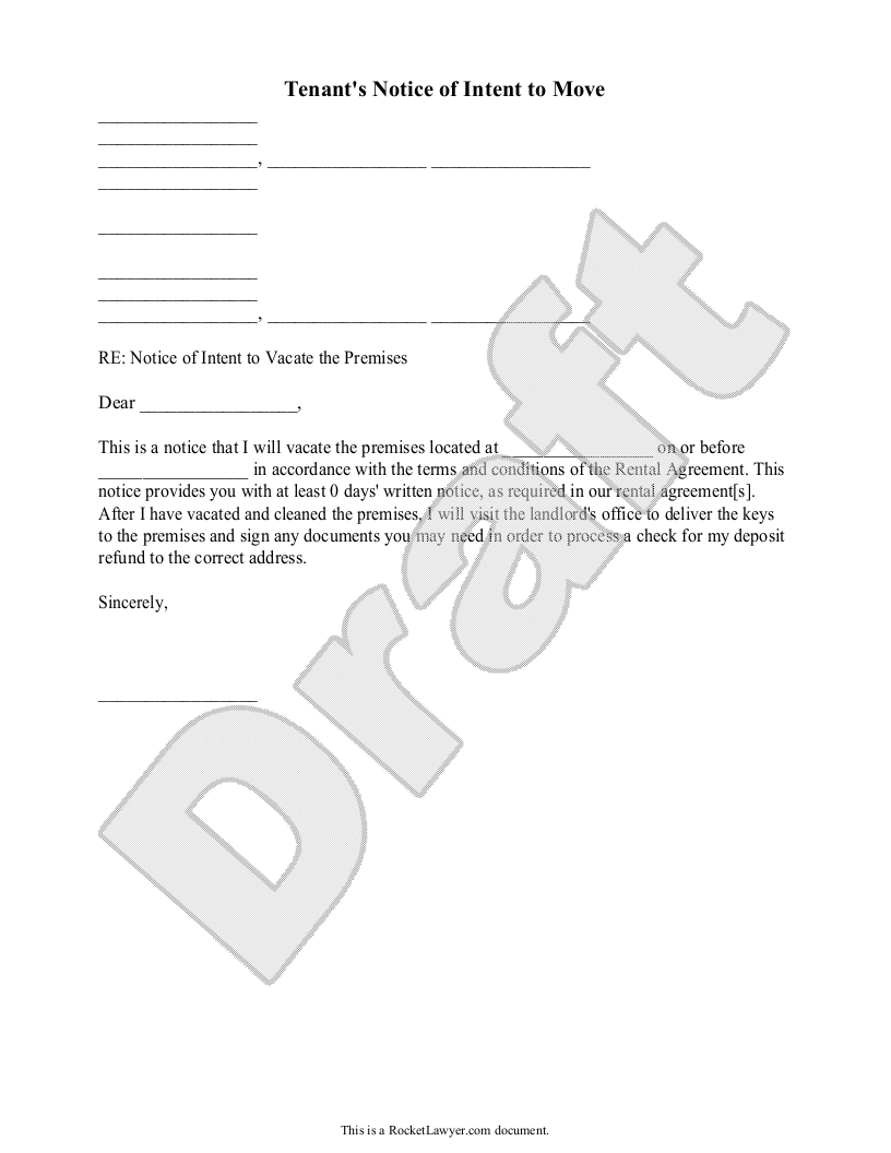 Sample TenantS Notice Of Intent To Move Form Template  Make It