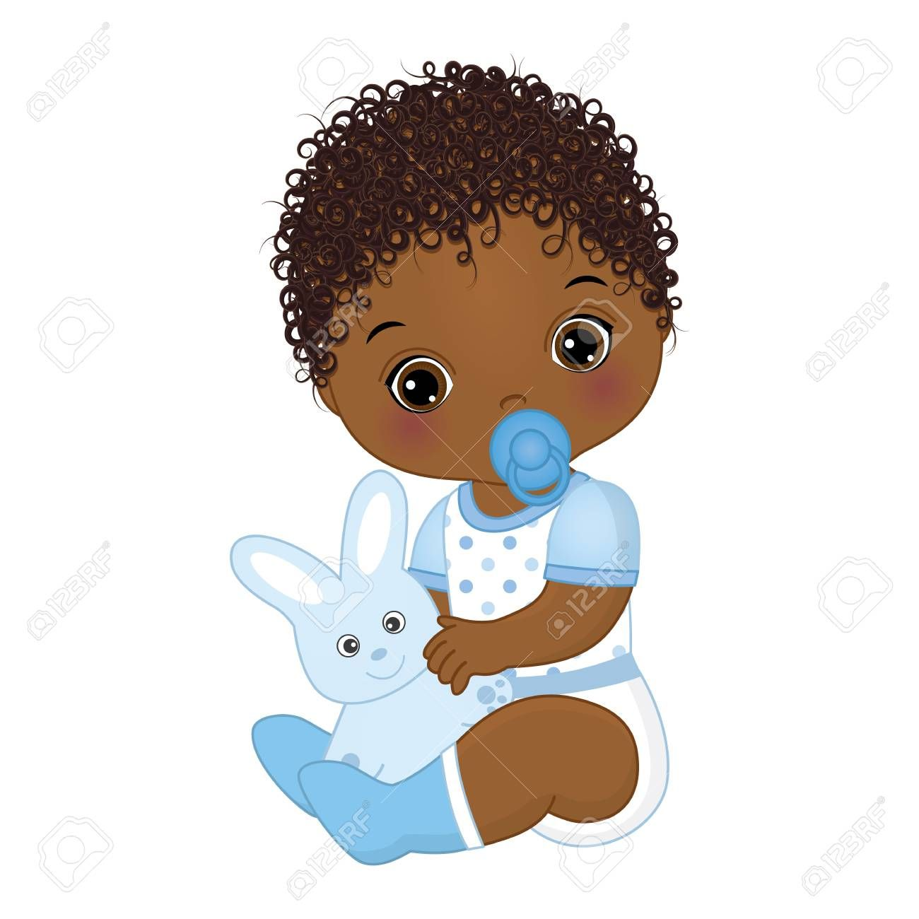 Vector Cute African American Baby Boy With Toy Bunny Vector Black Baby Art American Baby Baby Girl Clipart