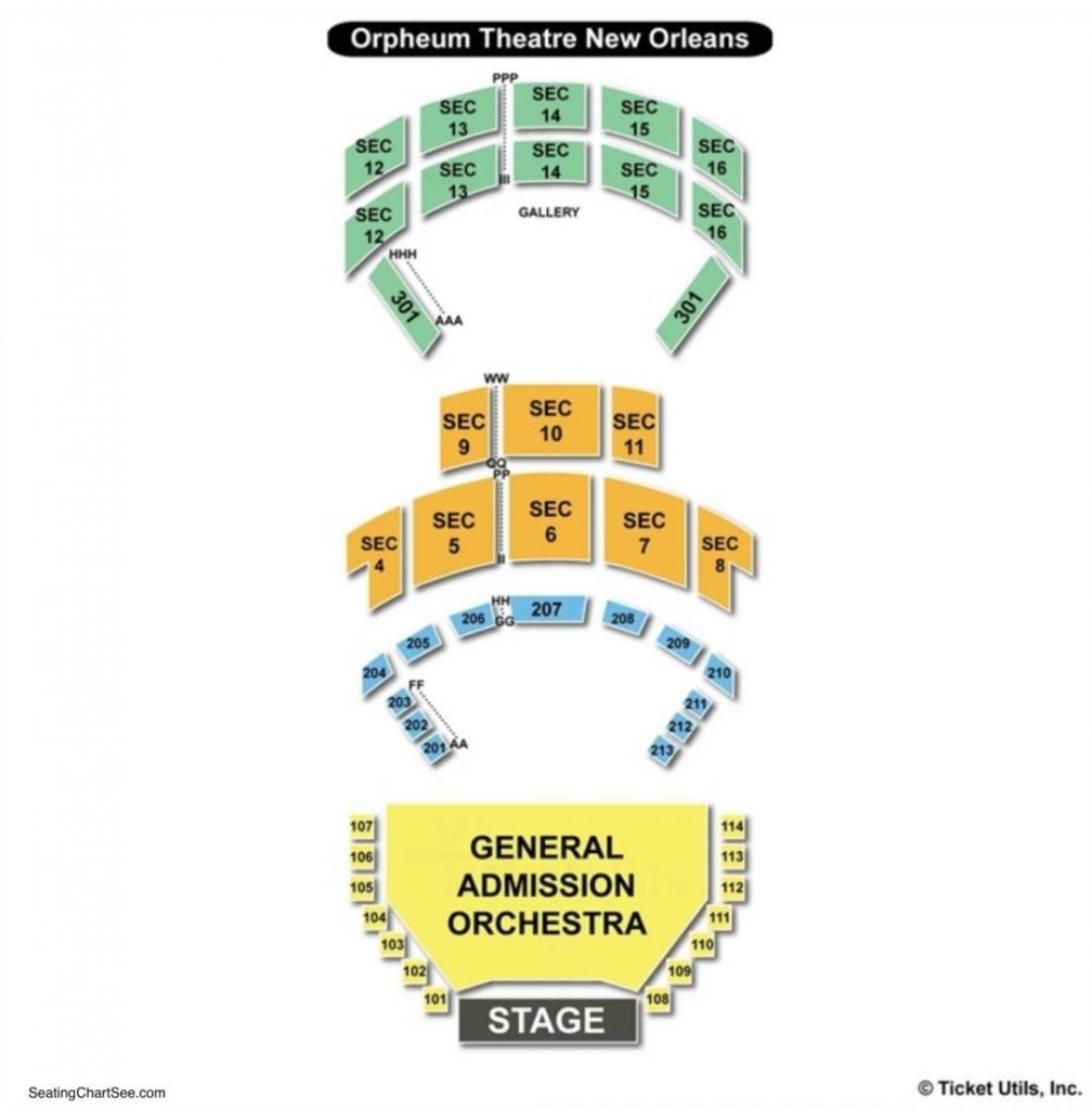 Orpheum Theater New Orleans Seating Chart Di 2020